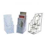 Desk Organizer, KEJEA, Countertop Display Rack K-180, 3 Pocket, Plastic, Clear