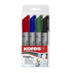 Flip Chart Marker, Kores , XF1, Round Tip, 4 Colors/Box