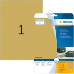Labels, HERMA 4107, Multi-purpose labels, 210 x 297 mm, Gold