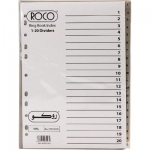 Divider, ROCO,  Index Divider, PVC, A4, 1-20 Numbers, Gray