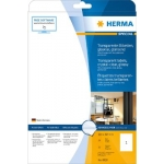 Labels, HERMA 8020, Transparent Glossy labels, 210 x 297 mm, Transparent