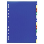 Divider, DURABLE, Color Index Divider, PVC, A4,1-12 Numbers