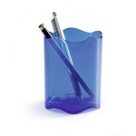Desk Organizer, DURABLE, Pen Cup, Single pen Hole, Plastic, Transparent Blue