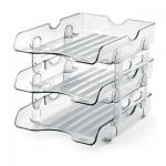 Desk Organizer, MAS, Fix Desk Tray , 3 Tries, Plastic, Clear
