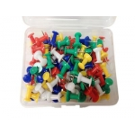 Clips, Push Pin, Metal/Plastic, Assorted Color, 100 PC/Pack