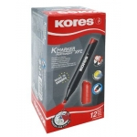 Permanent Marker, KORES, Chisel Tip 3-5mm , Red, 12 PC/Pack