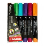 Permanent Marker, KORES, Round Tip, 6 Colors/Box