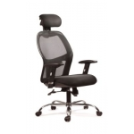 Chair, Mesh High Back & Fabric Chair with Headrest, Swivel, Black