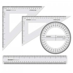 """Ruler, Drawing/Measuring Instrument Set, Size: 10""""x12"""", Clear, Set of 4"""