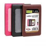 Badges & Holders, KEJEA, Leather Card Holder with Rope T-835, Black or Brown
