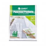 Documents Covers, SIMBA, Punched Sheet Pockets, 60 Micron, A4, Transparent, 100 PC/Pack