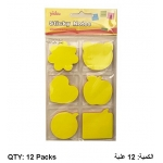 Memo Paper, YIDOO, Sticky Note, Neon Color, 75 Sheets/pads, 6 Shapes, 12 Packs ​​