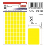 Labels, TANEX, 10 Sheet / bags, Desktop Sticker 12*17 mm, Yellow Neon , 30 Bags/ Pack